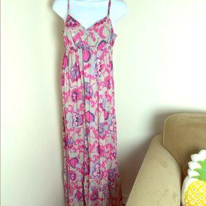 Inc pink grey cotton boho ruffle maxi sequins sz 6